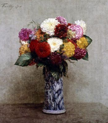 Dahlias In A Chinese Vase Fantin-Latour