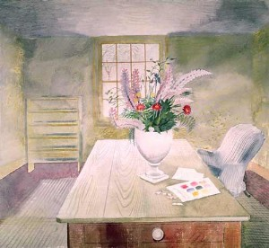 Flowers on a cottage table ravilious