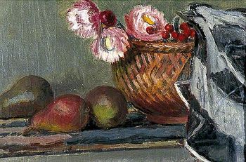 V bell still life of pears and everlasting flowers c1945 charleston