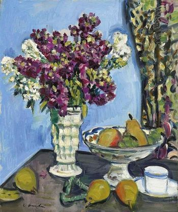 Hunter stocks in a white vase c1928