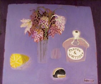 Fedden 1968 still life with flowers and a bottle