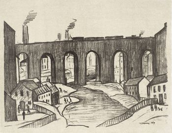 Ls lowry the viaduct stockport 1969