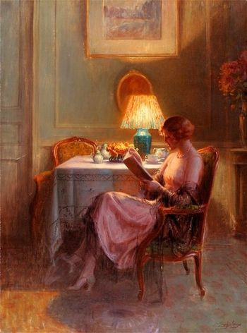 Reading by the lamp enjolras