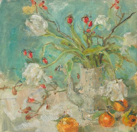 Emily Patrick Rosehips and WhiteTulips 2011